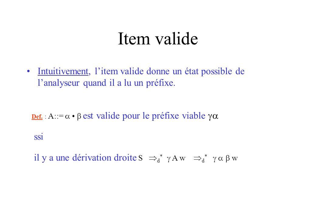 Item valide Intuitivement, l'item valide donne un état possible de l'analyseur quand il a lu un préfixe.