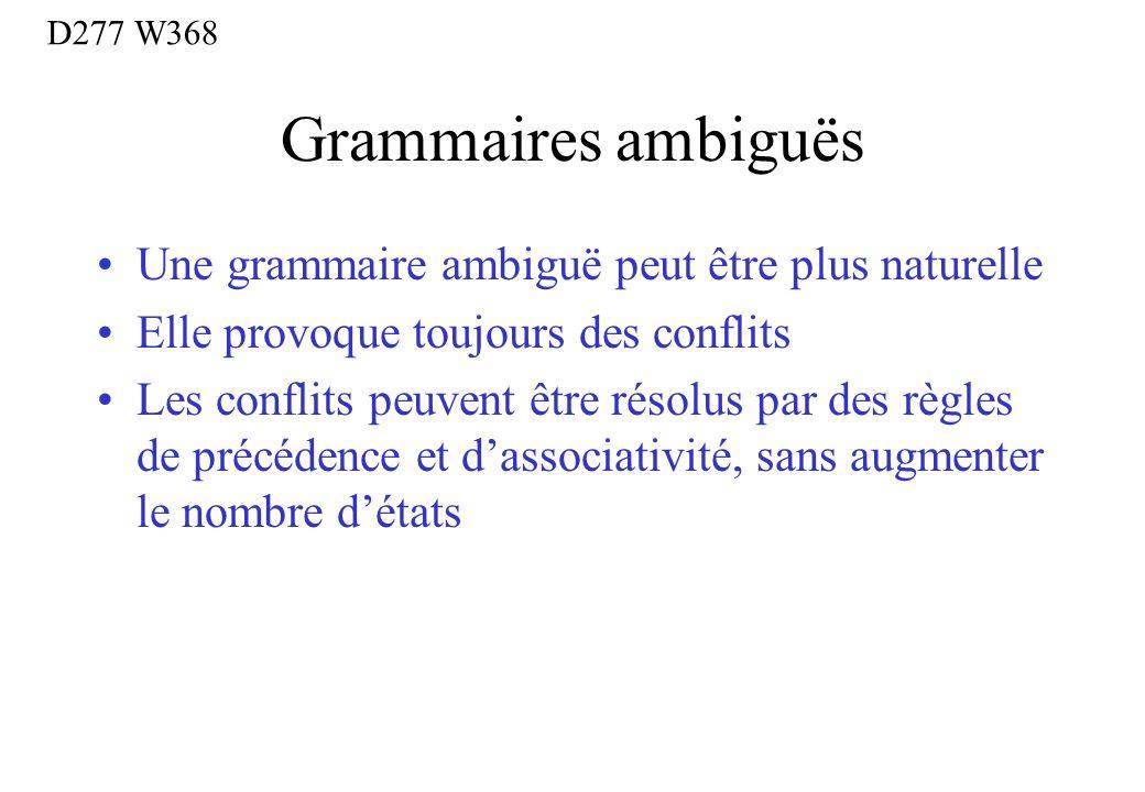 Grammaires ambiguës Une grammaire ambiguë peut être plus naturelle
