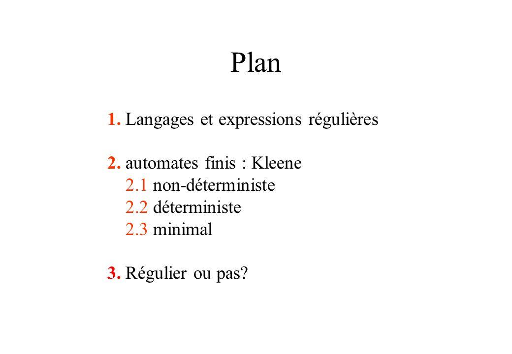Plan 1. Langages et expressions régulières 2. automates finis : Kleene