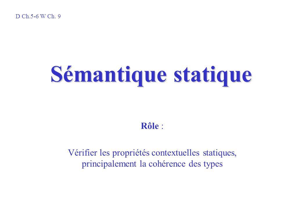 Sémantique statique Rôle :