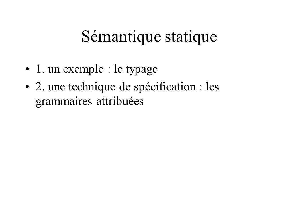 Sémantique statique 1. un exemple : le typage