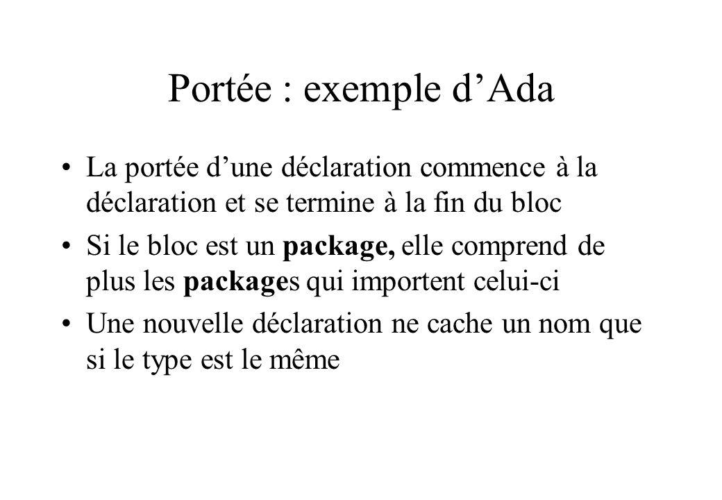 Portée : exemple d'Ada La portée d'une déclaration commence à la déclaration et se termine à la fin du bloc.