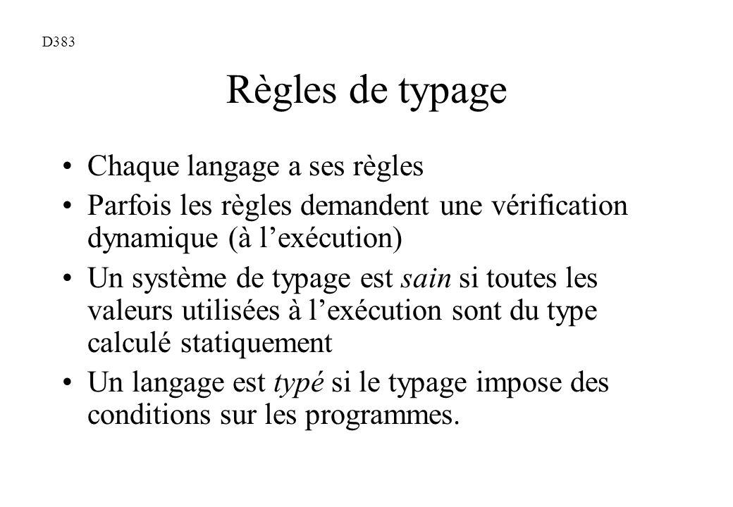 Règles de typage Chaque langage a ses règles