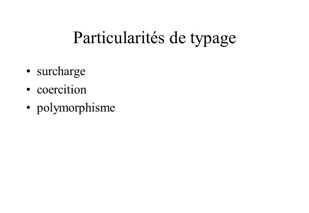 Particularités de typage