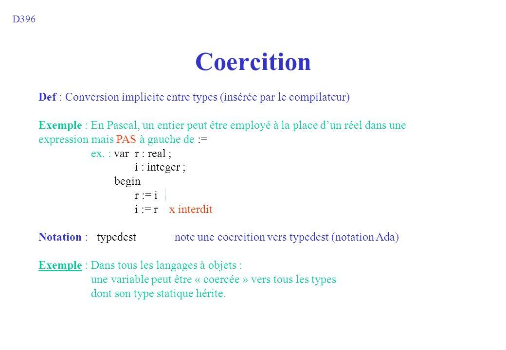 D396 Coercition. Def : Conversion implicite entre types (insérée par le compilateur)