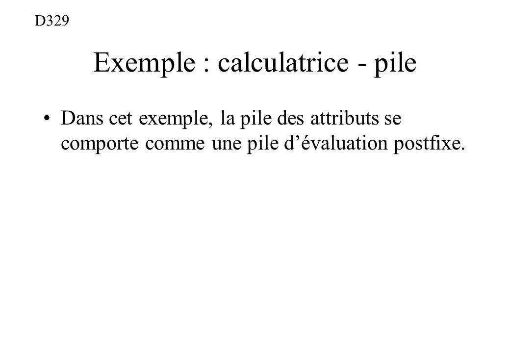 Exemple : calculatrice - pile