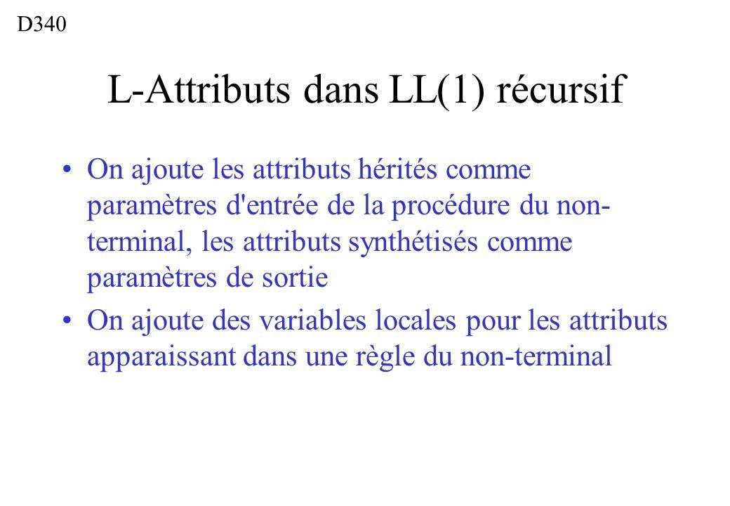 L-Attributs dans LL(1) récursif