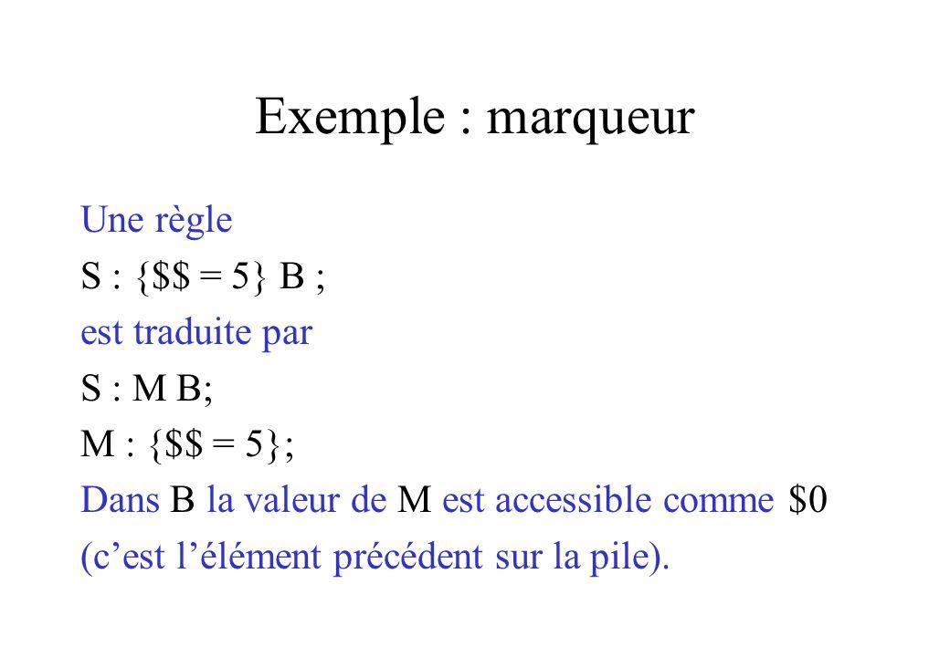 Exemple : marqueur Une règle S : {$$ = 5} B ; est traduite par