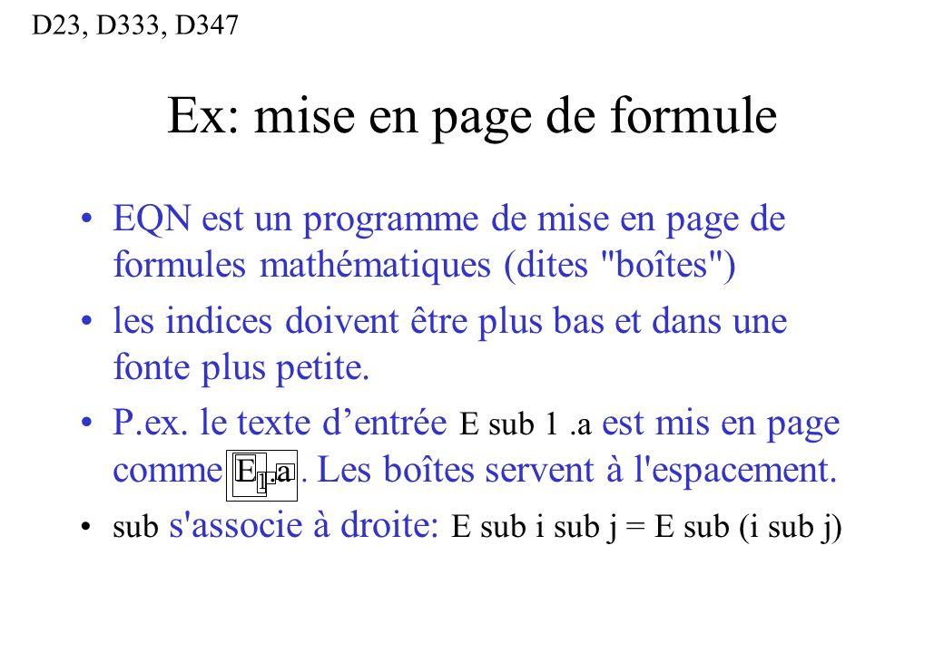 Ex: mise en page de formule