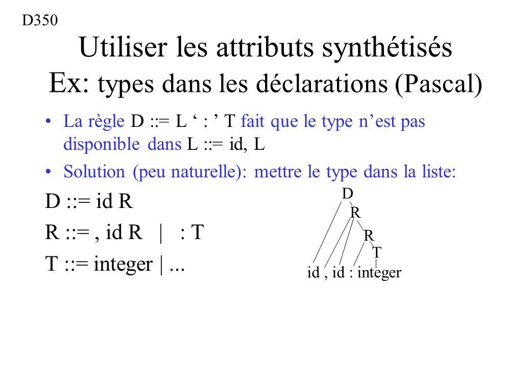 D350 Utiliser les attributs synthétisés Ex: types dans les déclarations (Pascal)