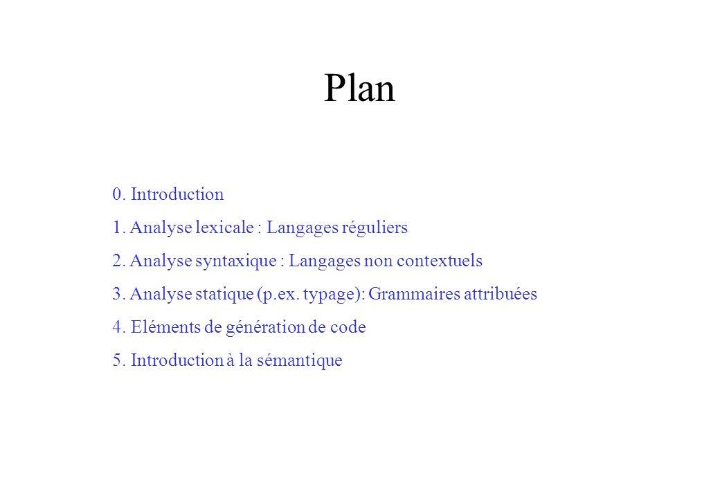 Plan 0. Introduction 1. Analyse lexicale : Langages réguliers