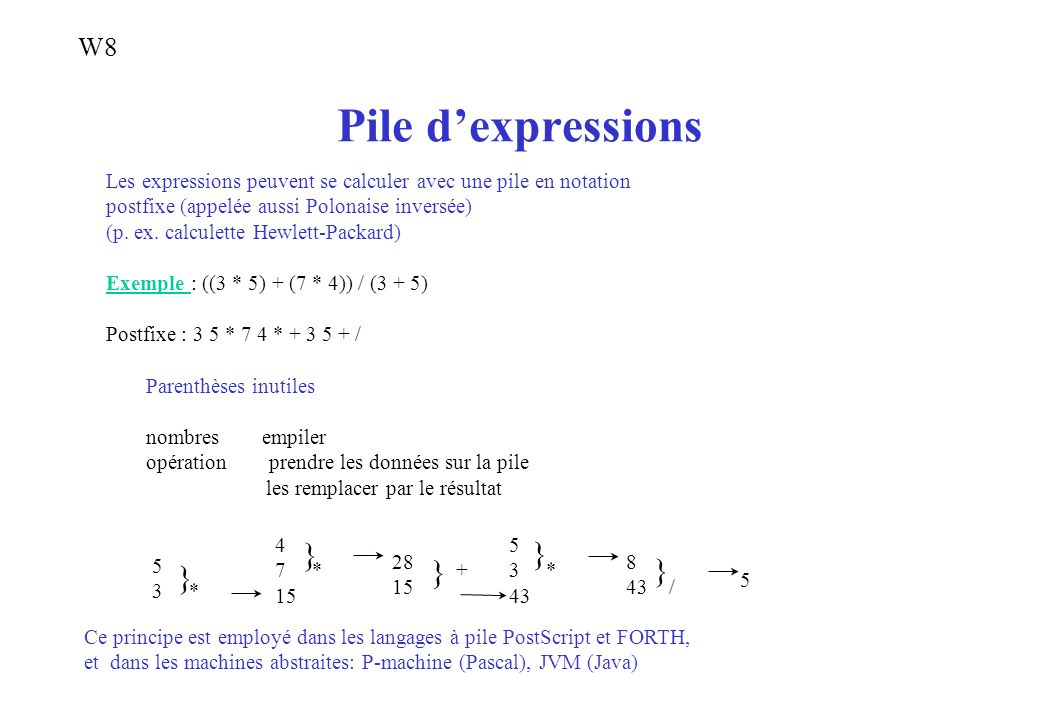 Pile d'expressions } } } } } W8