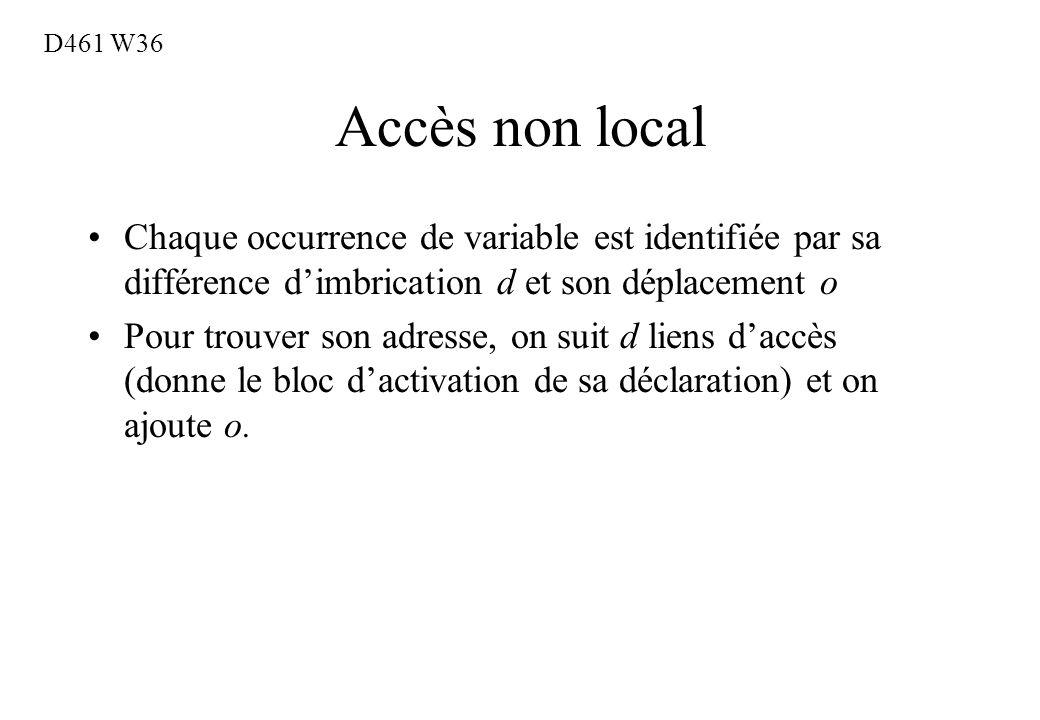 D461 W36 Accès non local. Chaque occurrence de variable est identifiée par sa différence d'imbrication d et son déplacement o.