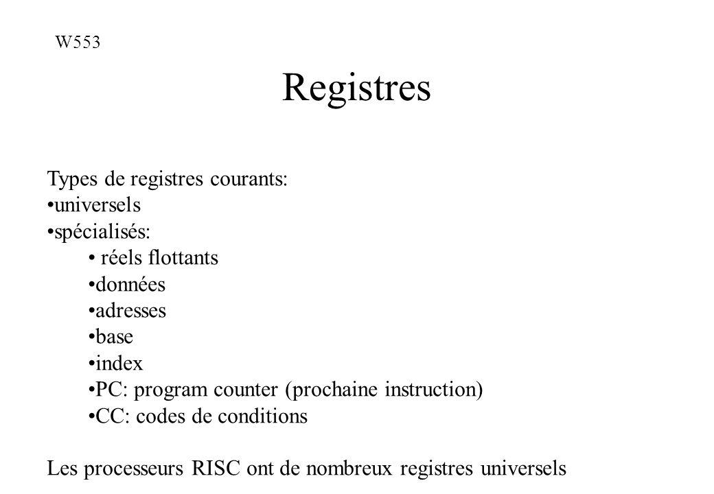 Registres Types de registres courants: universels spécialisés: