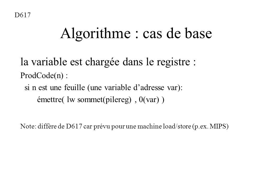Algorithme : cas de base