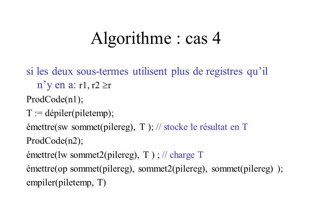 Algorithme : cas 4 si les deux sous-termes utilisent plus de registres qu'il n'y en a: r1, r2 r. ProdCode(n1);