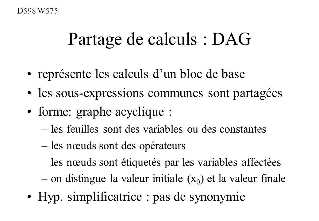 Partage de calculs : DAG