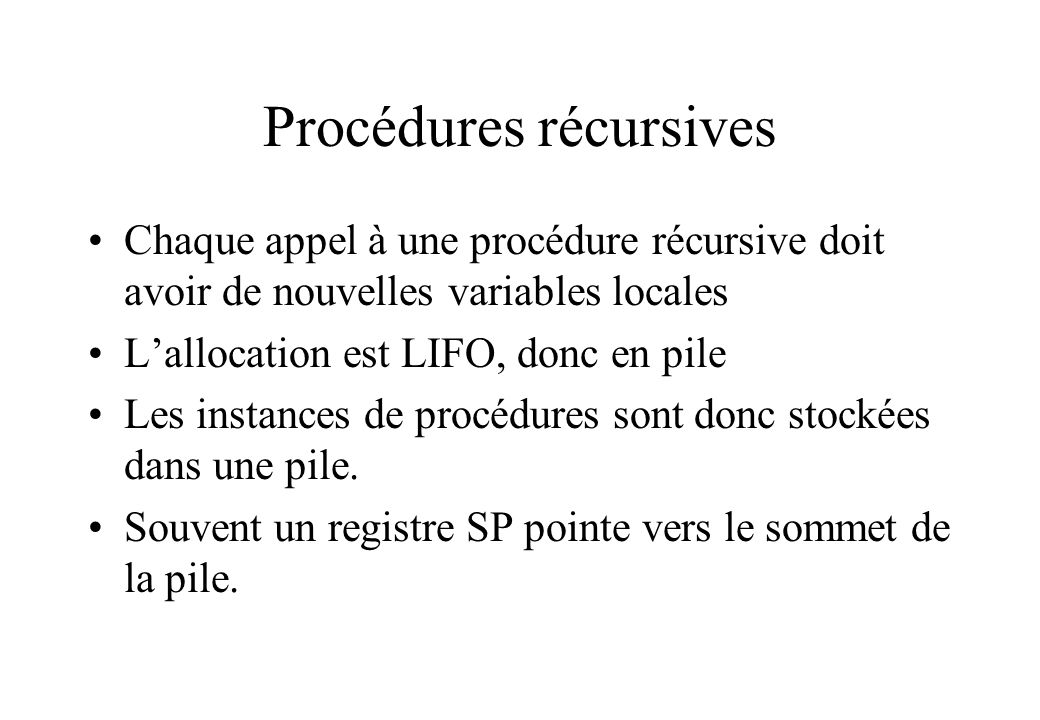 Procédures récursives
