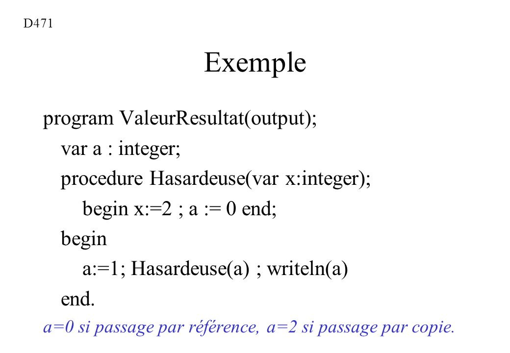Exemple program ValeurResultat(output); var a : integer;