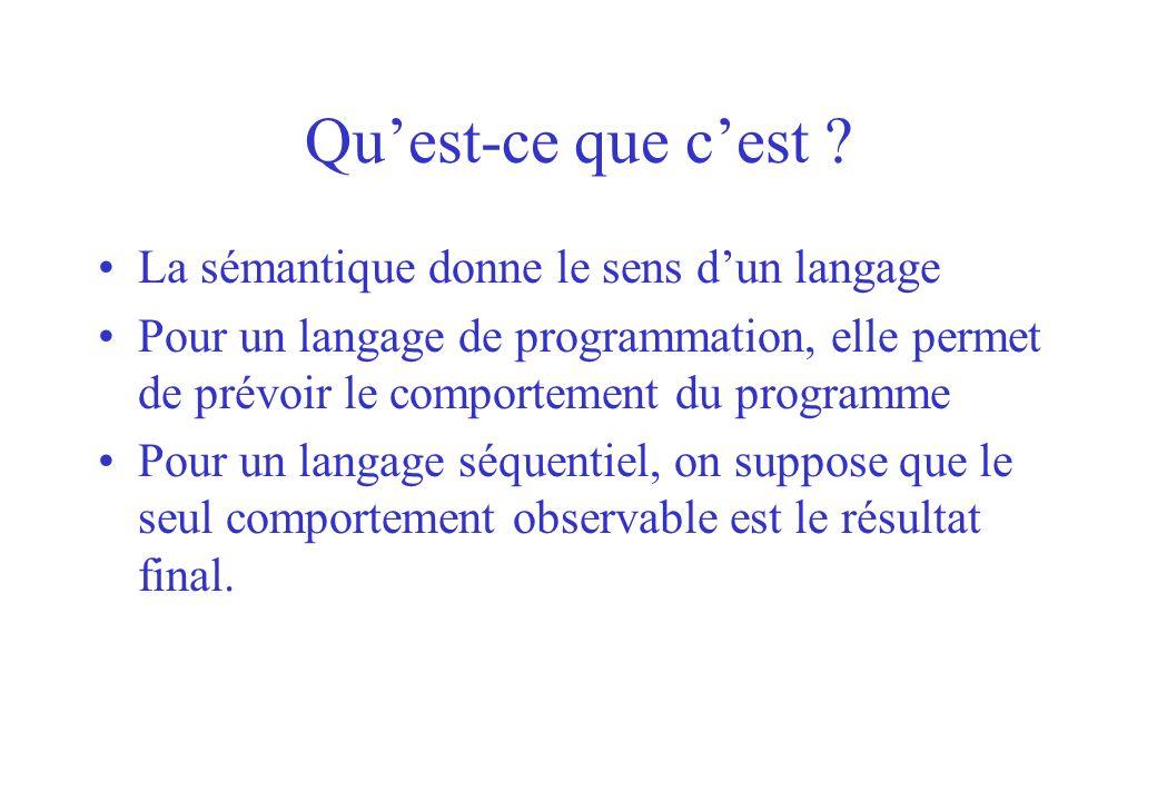 Qu'est-ce que c'est La sémantique donne le sens d'un langage