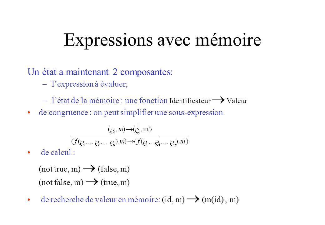 Expressions avec mémoire