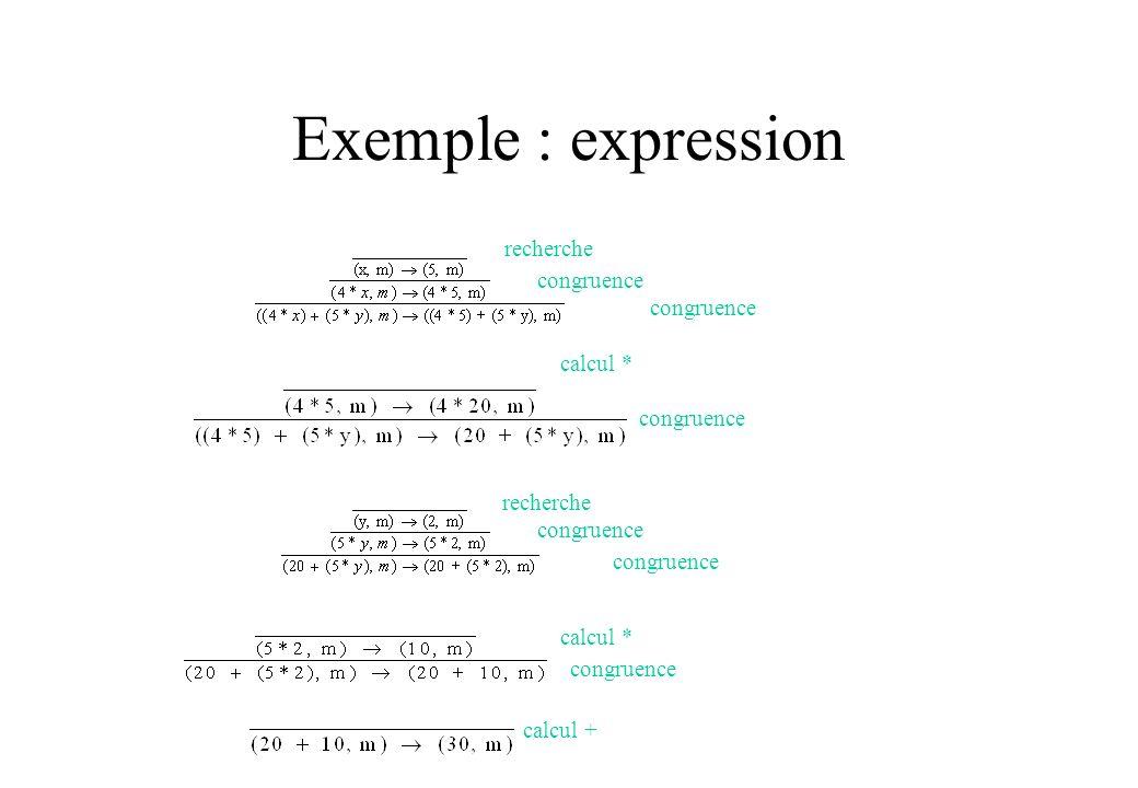 Exemple : expression recherche congruence congruence calcul *