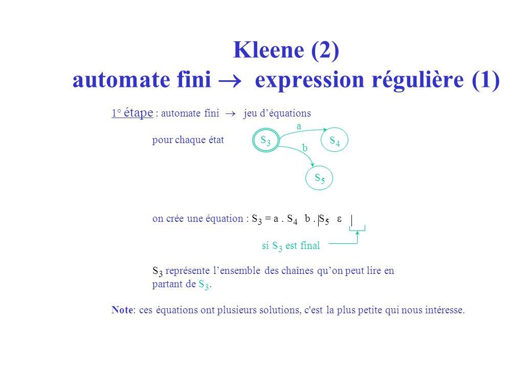 Kleene (2) automate fini  expression régulière (1)