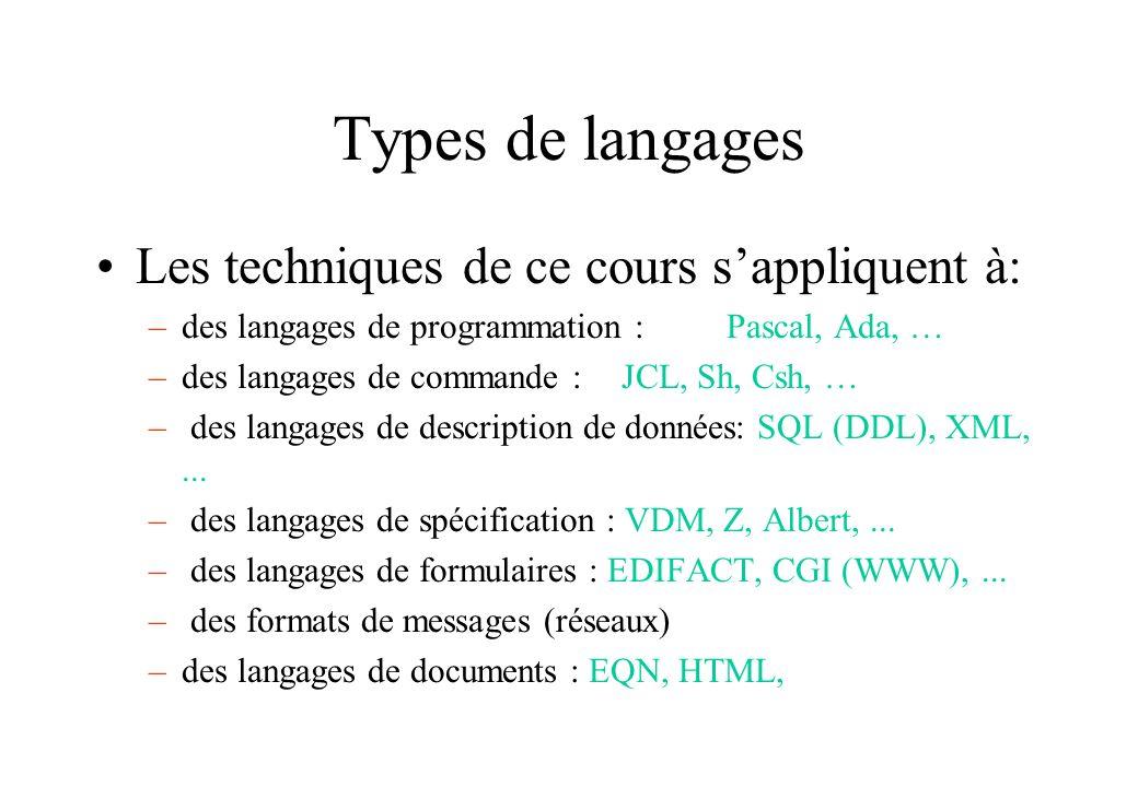Types de langages Les techniques de ce cours s'appliquent à: