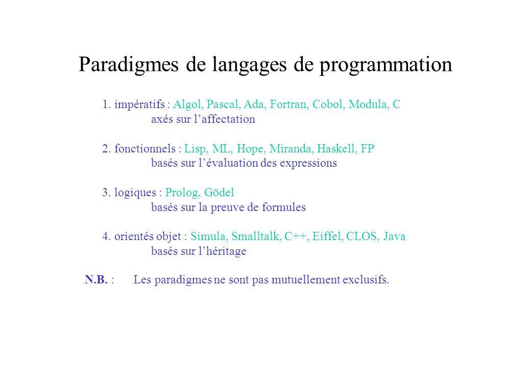 Paradigmes de langages de programmation