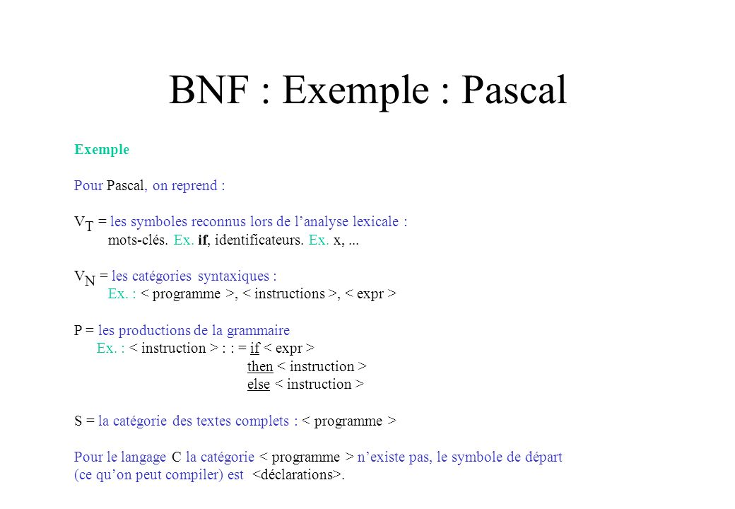 BNF : Exemple : Pascal Exemple Pour Pascal, on reprend :