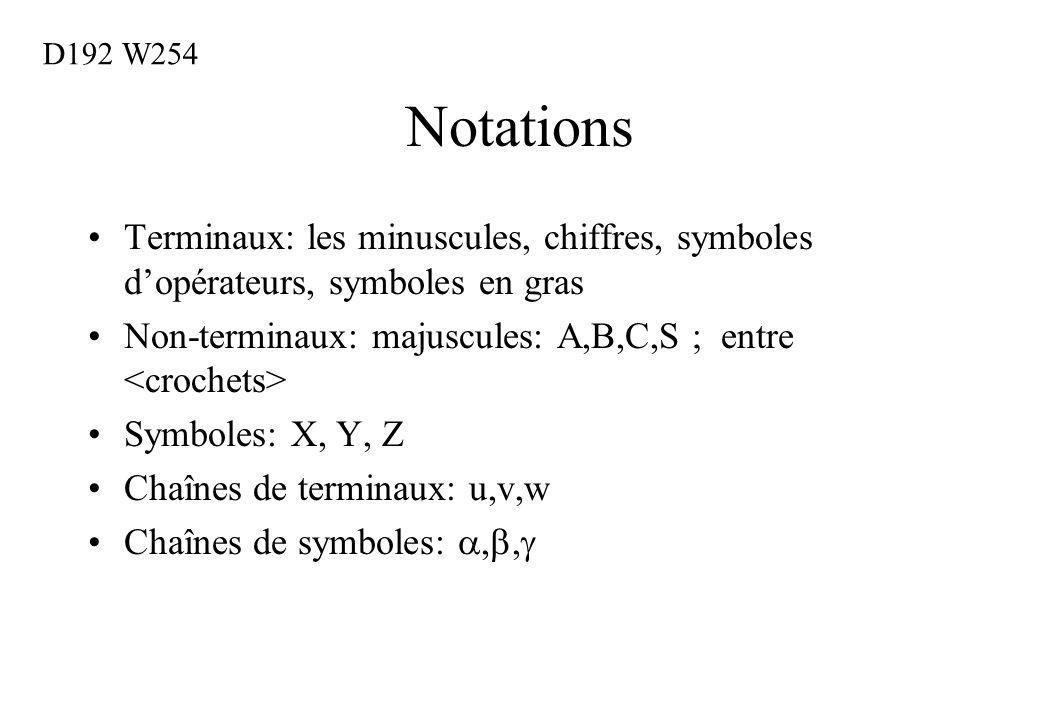 D192 W254 Notations. Terminaux: les minuscules, chiffres, symboles d'opérateurs, symboles en gras.