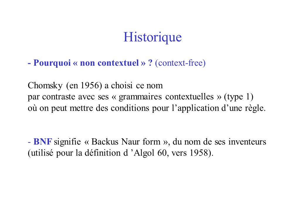 Historique - Pourquoi « non contextuel » (context-free)