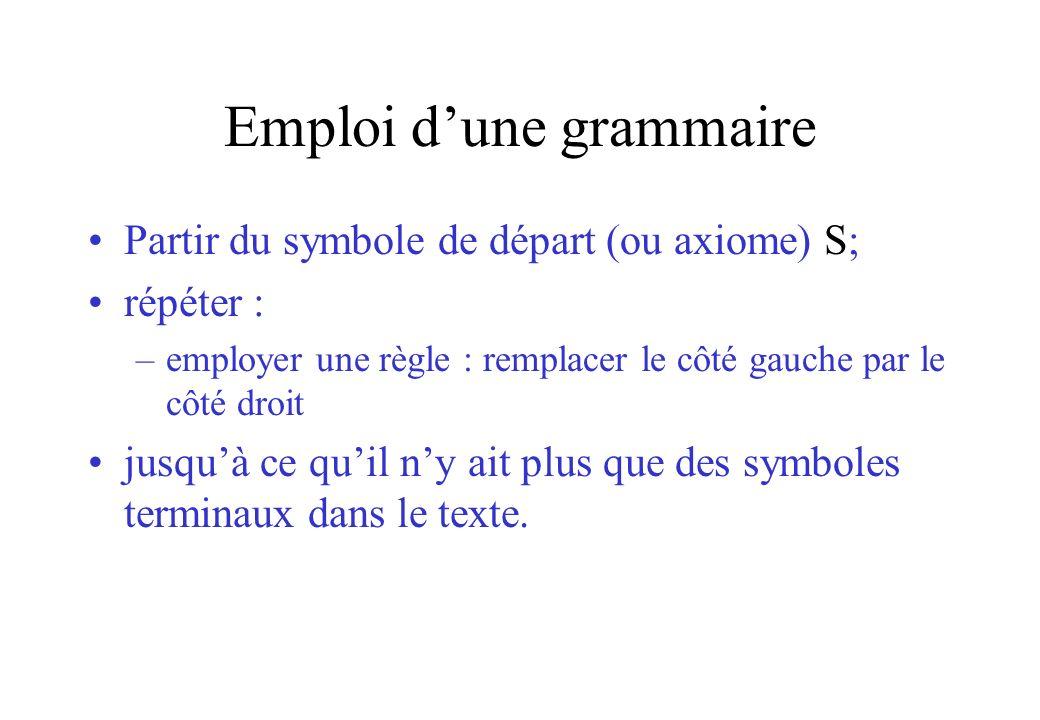 Emploi d'une grammaire