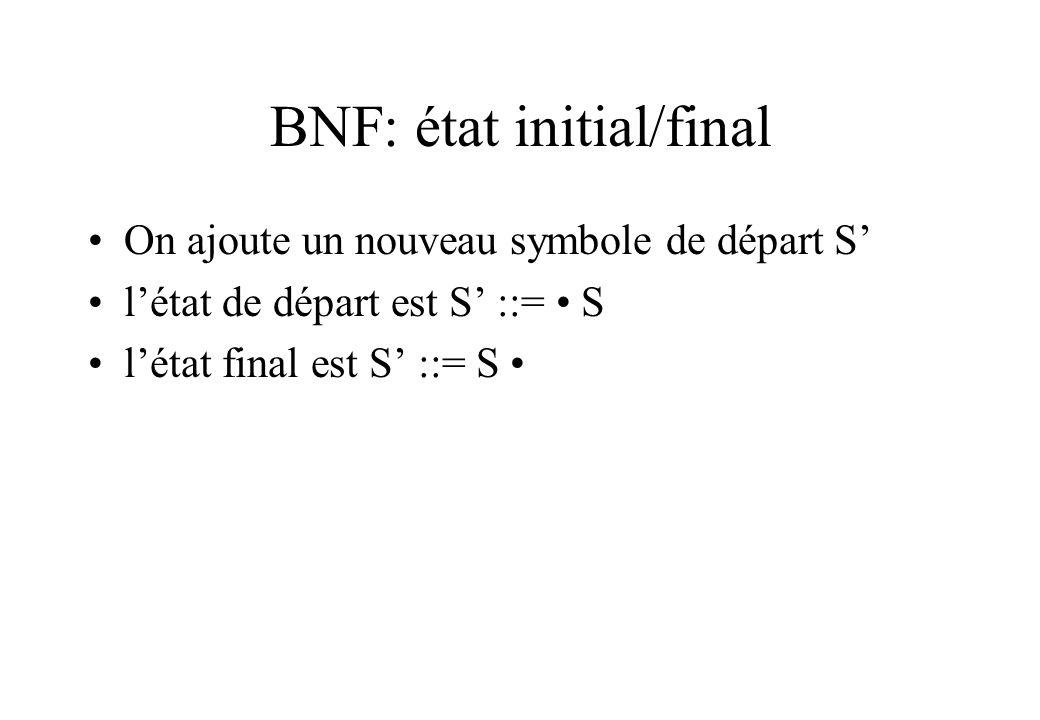 BNF: état initial/final