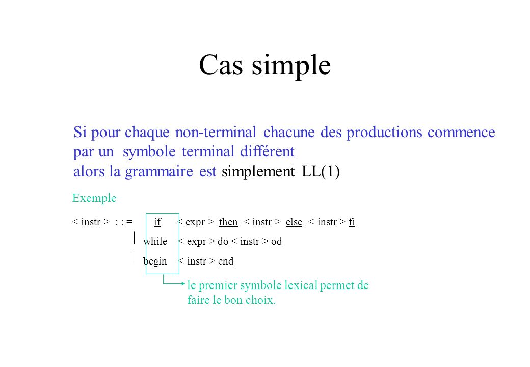 Cas simple Si pour chaque non-terminal chacune des productions commence par un symbole terminal différent.
