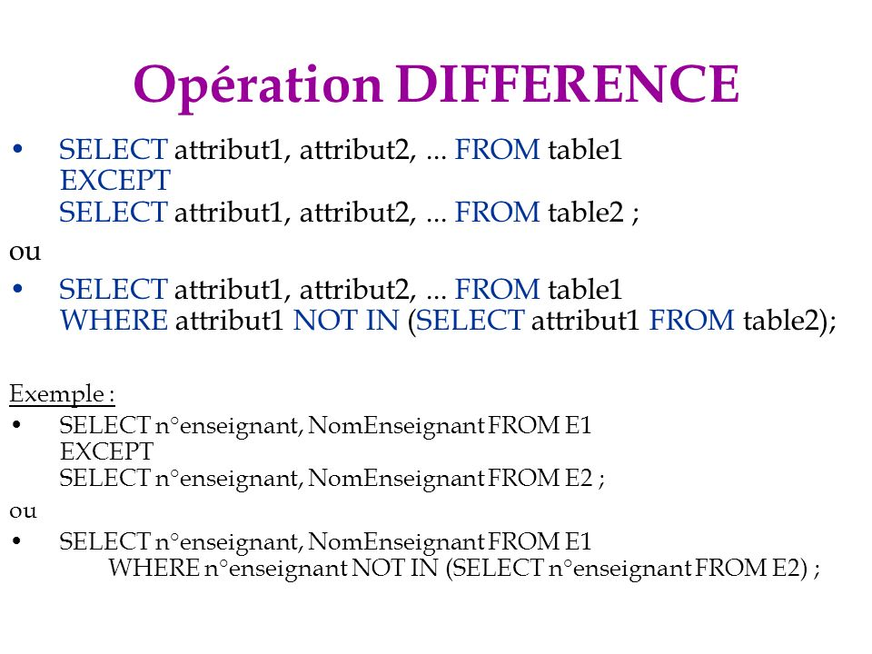 Opération DIFFERENCE SELECT attribut1, attribut2, ... FROM table1 EXCEPT SELECT attribut1, attribut2, ... FROM table2 ;