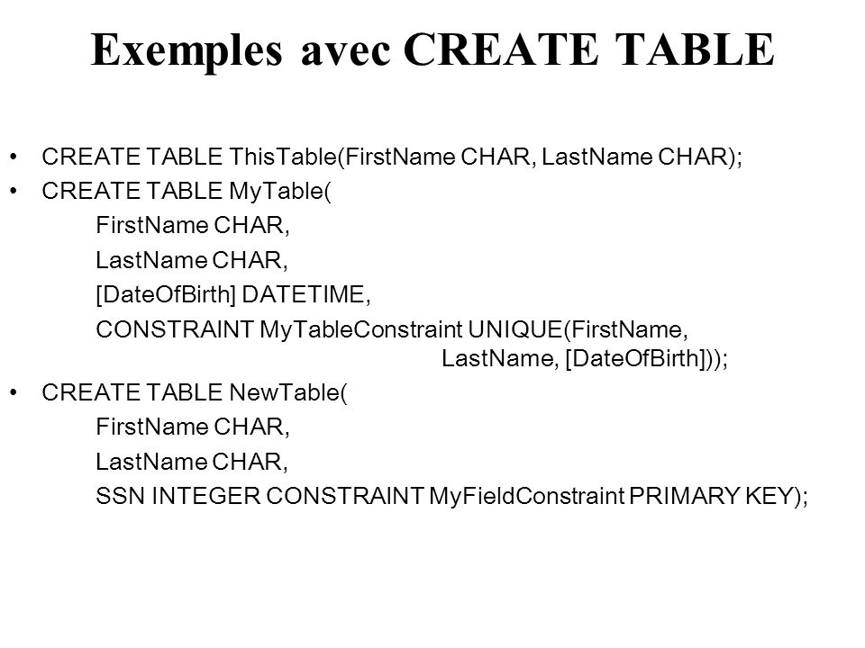 Exemples avec CREATE TABLE
