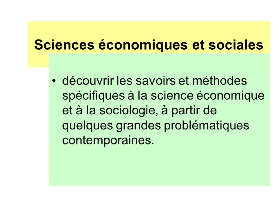Sciences économiques et sociales