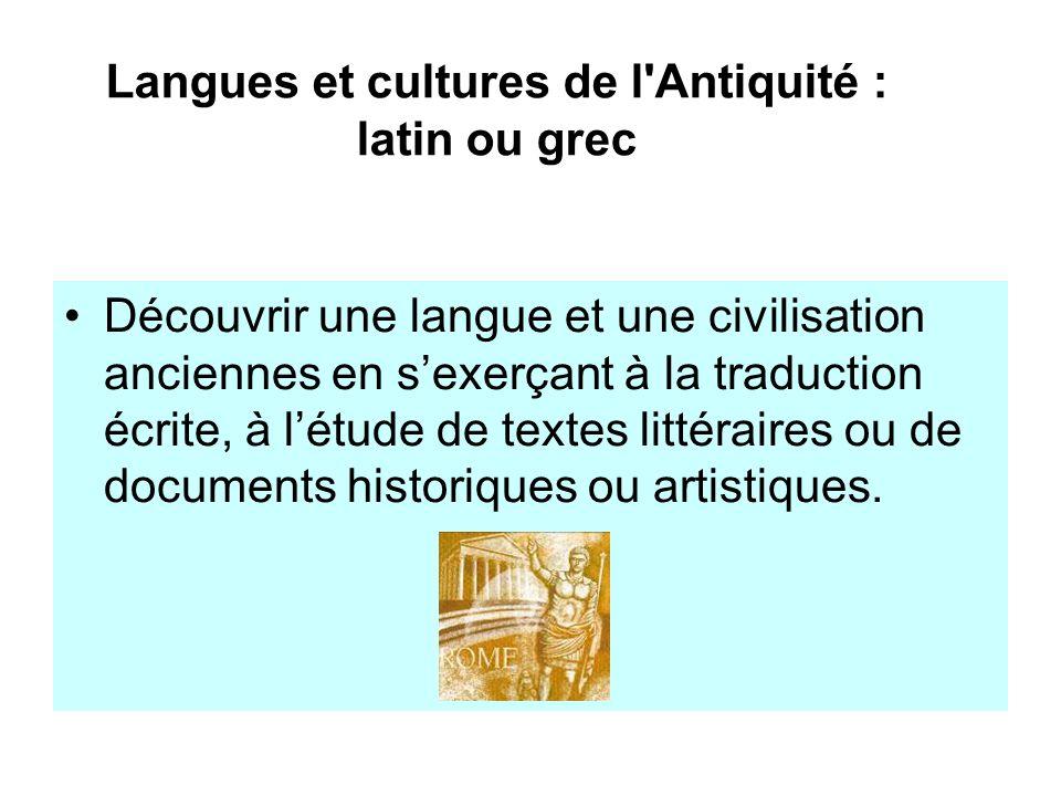 Langues et cultures de l Antiquité : latin ou grec