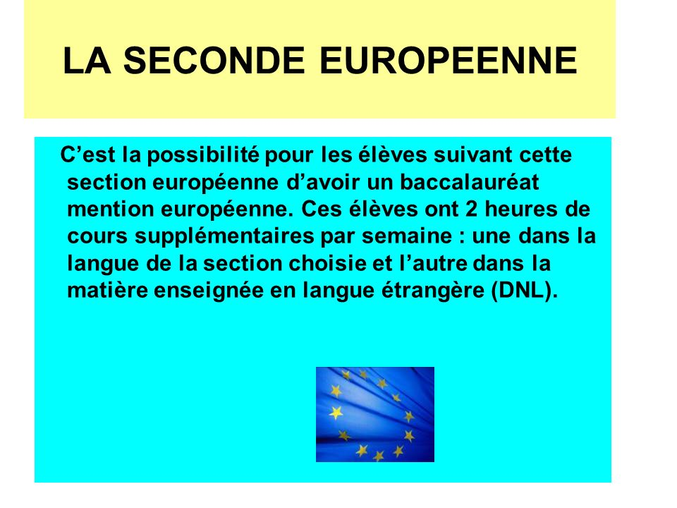 LA SECONDE EUROPEENNE