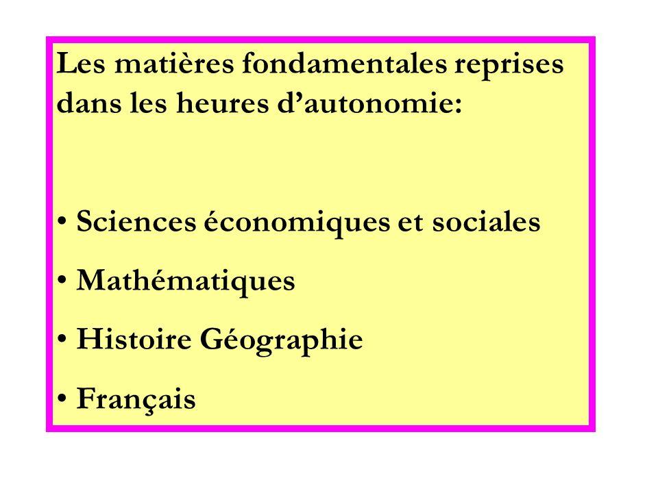 Les matières fondamentales reprises dans les heures d'autonomie: