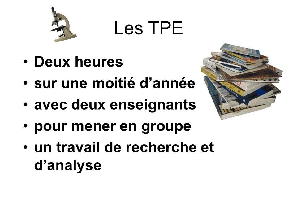 Les TPE Deux heures sur une moitié d'année avec deux enseignants