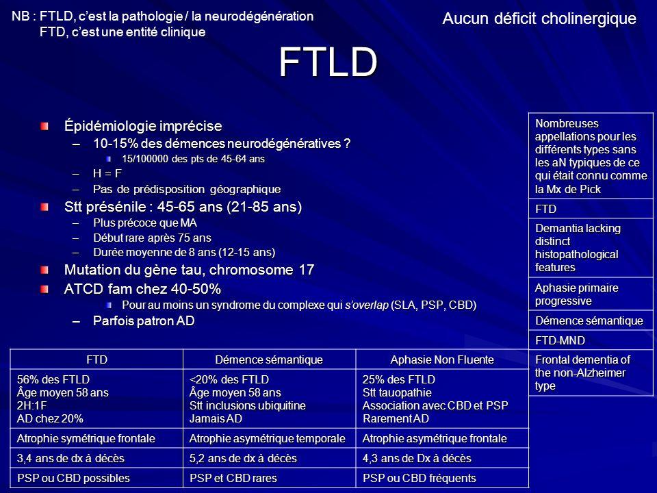 FTLD Aucun déficit cholinergique Épidémiologie imprécise