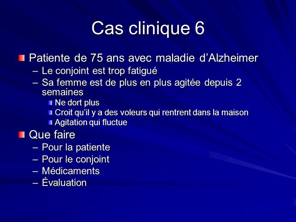 Cas clinique 6 Patiente de 75 ans avec maladie d'Alzheimer Que faire