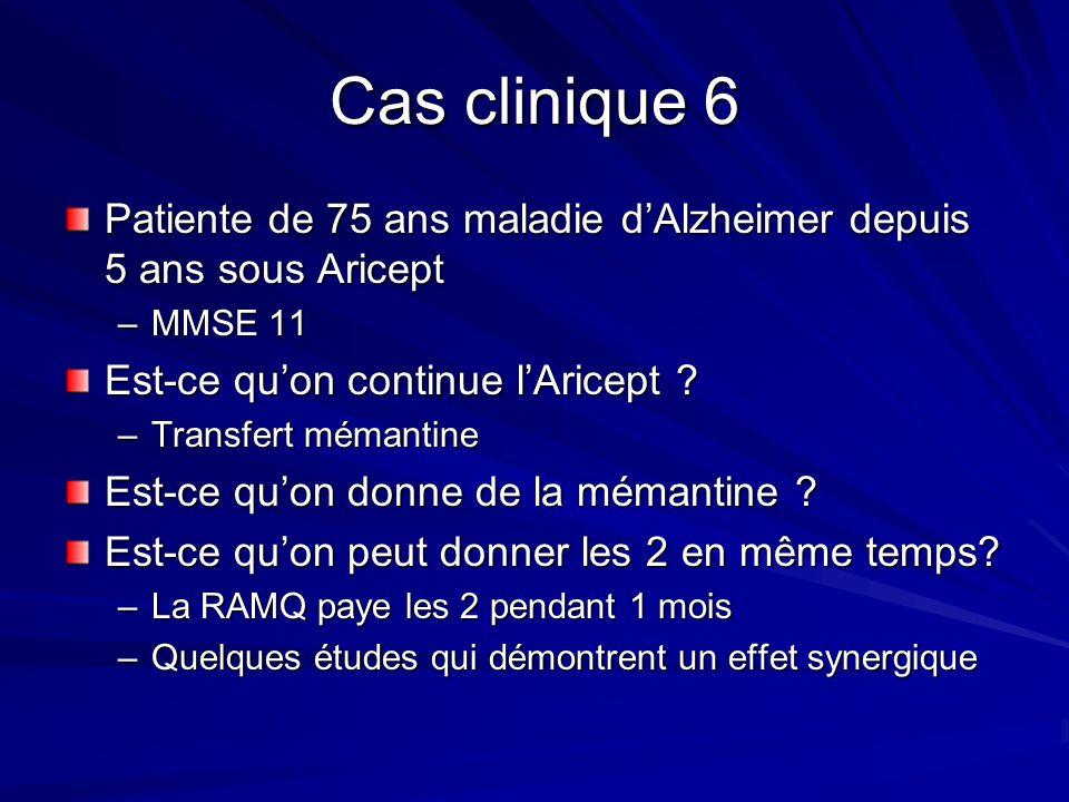 Cas clinique 6 Patiente de 75 ans maladie d'Alzheimer depuis 5 ans sous Aricept. MMSE 11. Est-ce qu'on continue l'Aricept