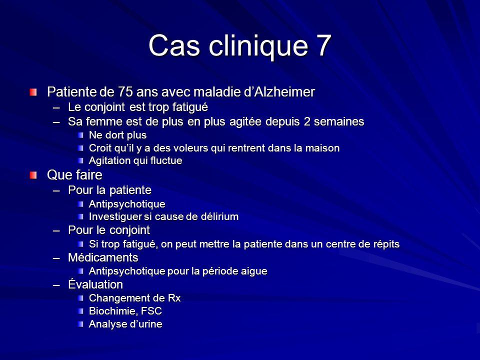 Cas clinique 7 Patiente de 75 ans avec maladie d'Alzheimer Que faire