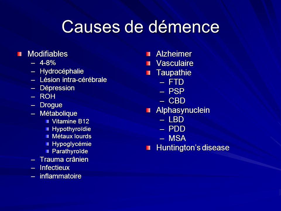 Causes de démence Modifiables Alzheimer Vasculaire Taupathie FTD PSP