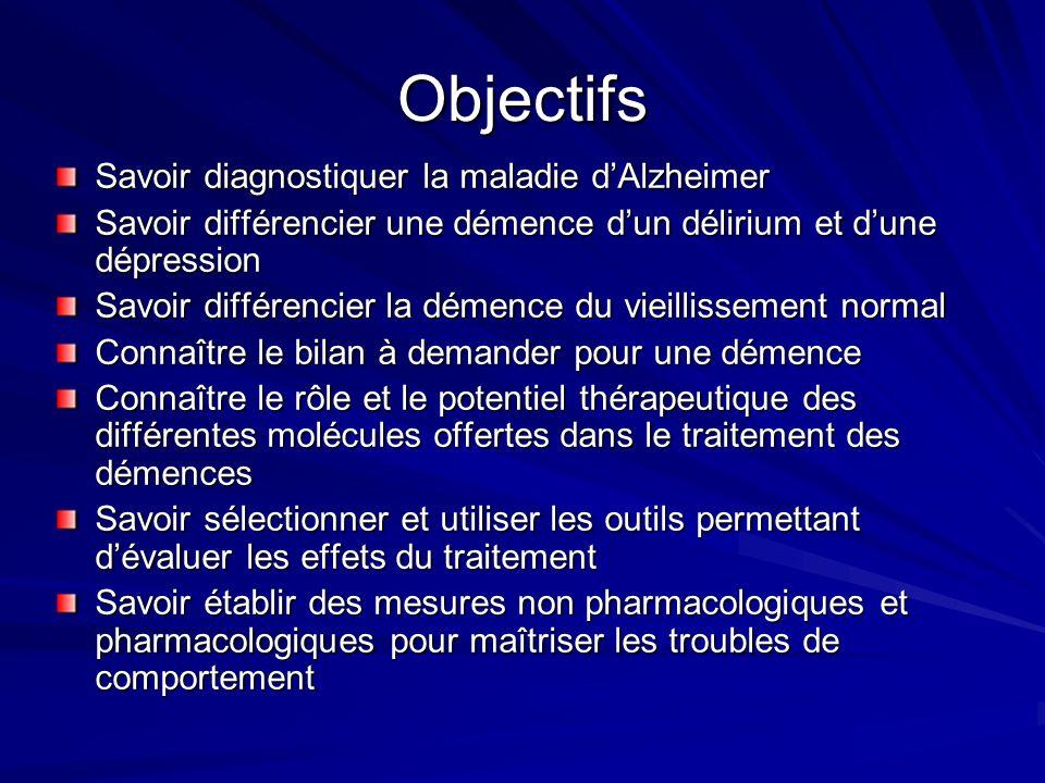 Objectifs Savoir diagnostiquer la maladie d'Alzheimer