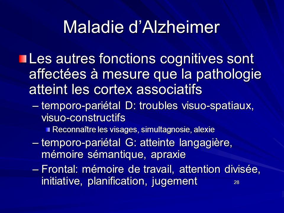 Maladie d'Alzheimer Les autres fonctions cognitives sont affectées à mesure que la pathologie atteint les cortex associatifs.