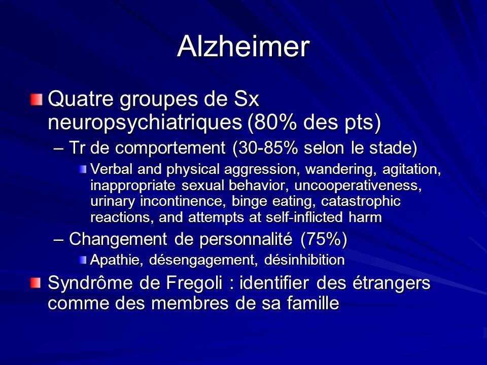 Alzheimer Quatre groupes de Sx neuropsychiatriques (80% des pts)